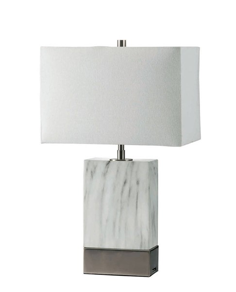 Furniture of America Faith White Marble Silver 20 Inch Steel Table Lamp FOA-L731197-SV