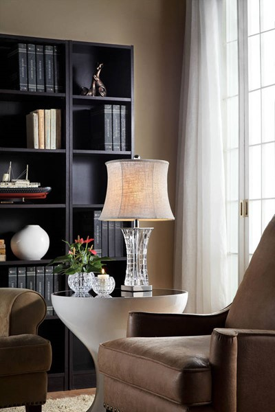 Furniture of America Ceri Clear Table Lamp and 2 Candle Holders FOA-L9714T