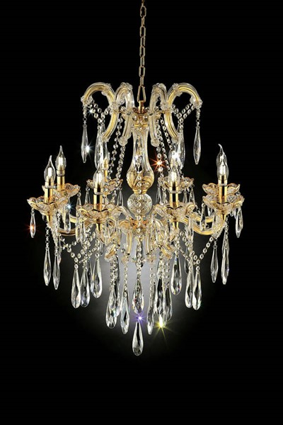 Furniture of America Christiana Gold 35 Inch Hanging Crystal Ceiling Lamp FOA-L9806H