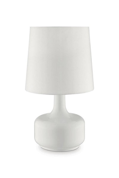 Furniture of America Farah Glossy White 17 Inch Table Lamp FOA-L9819WH