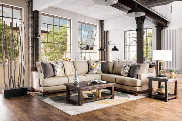 Furniture of America Lazzaro Beige Sectional FOA-SM1115-SECT