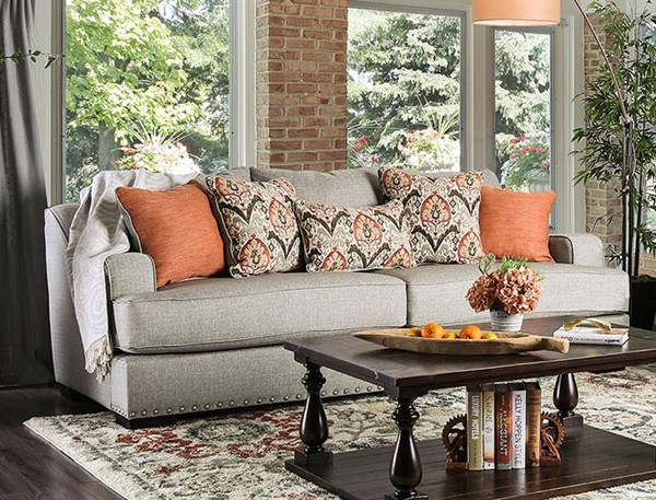 Furniture of America Jayne Light Gray Sofa FOA-SM1224-SF