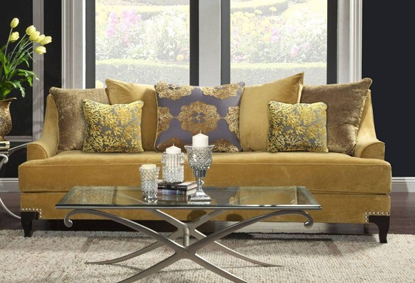 Furniture of America Viscontti Gold Sofa FOA-SM2201-SF