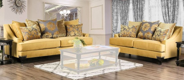 Furniture of America Viscontti Gold 2pc Living Room Set FOA-SM2201-2PC