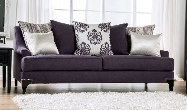 Furniture of America Sisseton Purple Sofa FOA-SM2208-SF