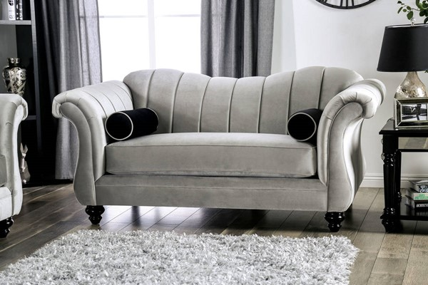 Furniture of America Marvin Pewter Loveseat FOA-SM2227-LV