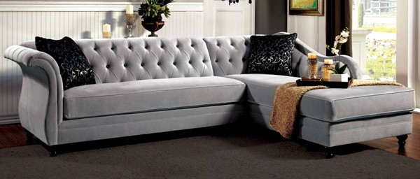 Furniture of America Rotterdam Warm Gray 2pc Sectional FOA-SM2261-PK