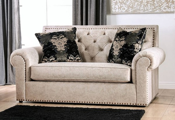 Furniture of America Parshall Beige Gold Loveseat FOA-SM2272-LV