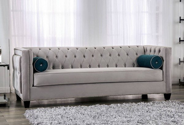 Furniture of America Silvan Gray Sofa FOA-SM2283-SF