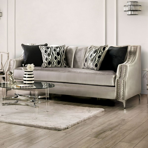 Furniture of America Elicia Silver Black Sofa FOA-SM2686-SF