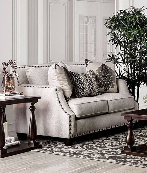 Furniture of America Cornelia Beige Loveseat FOA-SM3072-LV