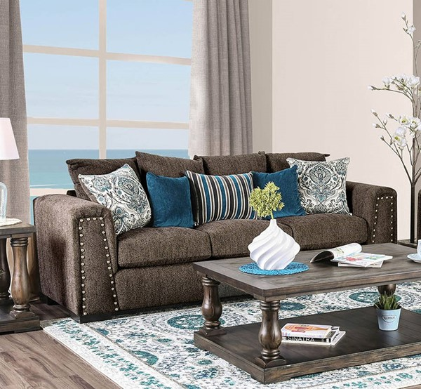 Furniture of America Pauline Brown Sofa FOA-SM3076-SF