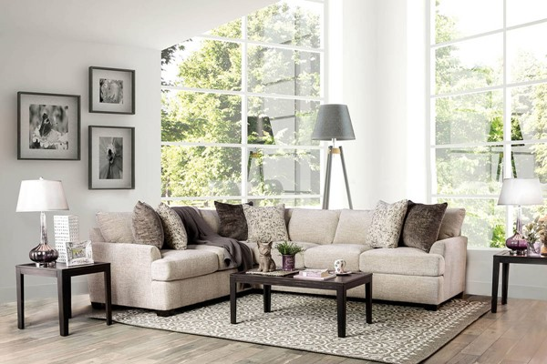 Furniture of America Alisa Ivory Sectional FOA-SM3079-SECT
