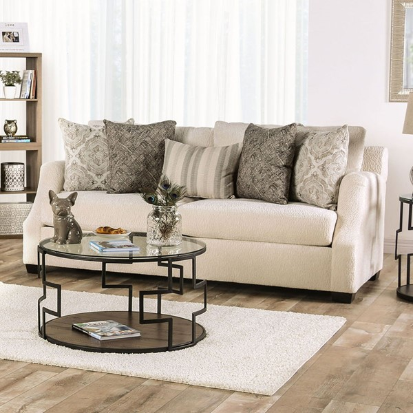 Furniture of America Laila Ivory Fabric Sofa FOA-SM3083-SF