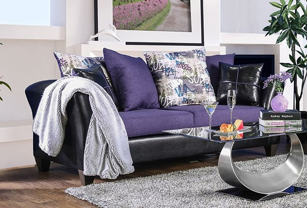 Furniture of America Kaelyn Black Purple Sofa FOA-SM4050-SF