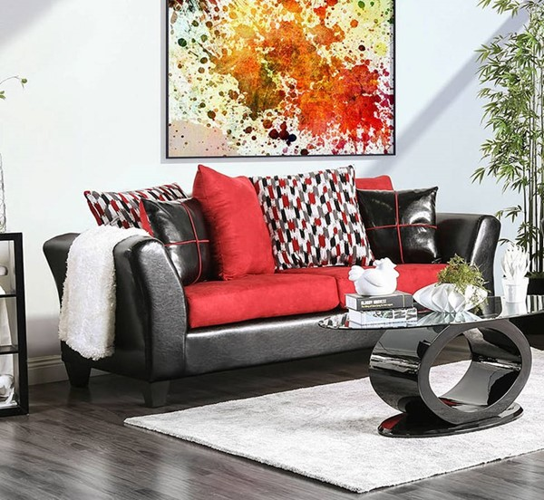 Furniture of America Braelyn Black Red Sofa FOA-SM4060-SF