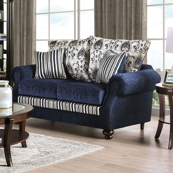 Furniture of America Kenna Navy Silver Fabric Loveseat FOA-SM4434-LV
