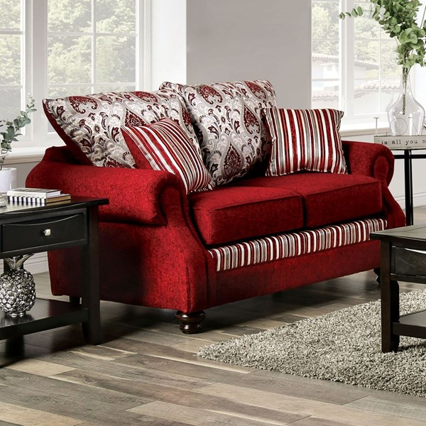 Furniture of America Kenna Red Silver Fabric Loveseat FOA-SM4436-LV