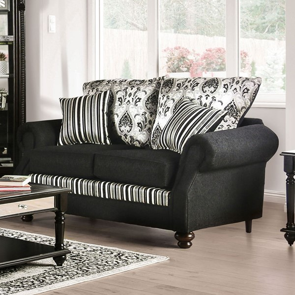Furniture of America Kenna Black Silver Fabric Loveseat FOA-SM4438-LV