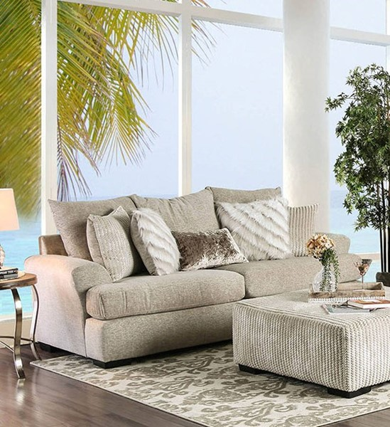 Furniture of America Anthea Beige Sofa FOA-SM5140-SF