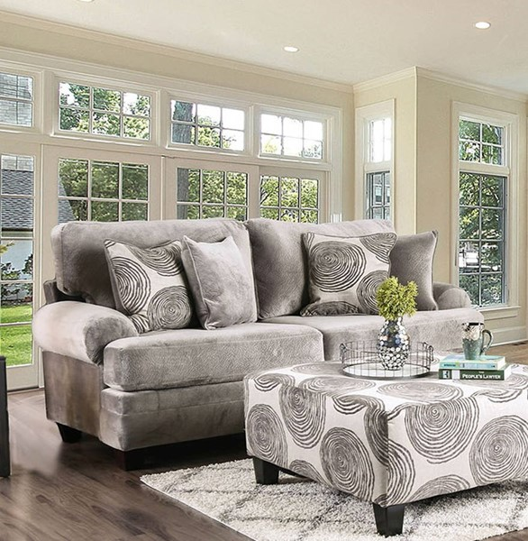 Furniture of America Bonaventura Gray Sofa FOA-SM5142GY-SF