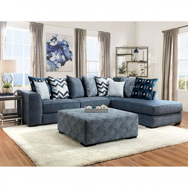 Furniture of America Brielle Blue Sectional FOA-SM5146-SECT