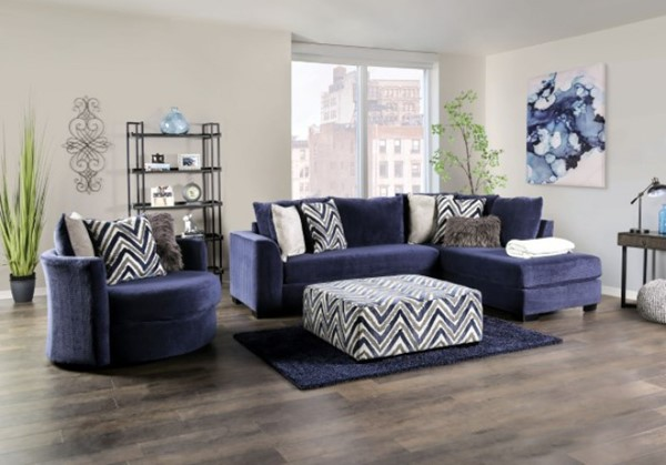 Furniture of America Griswold Navy Blue Sectional FOA-SM5151-SECT