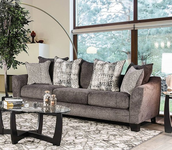 Furniture of America Jena Gray Sofa FOA-SM5159-SF