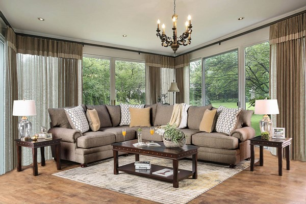 Furniture of America Augustina Light Brown Sectional FOA-SM5165-SECT