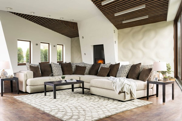 Furniture of America Giuliana Cream Brown Sectional FOA-SM5180-SECT