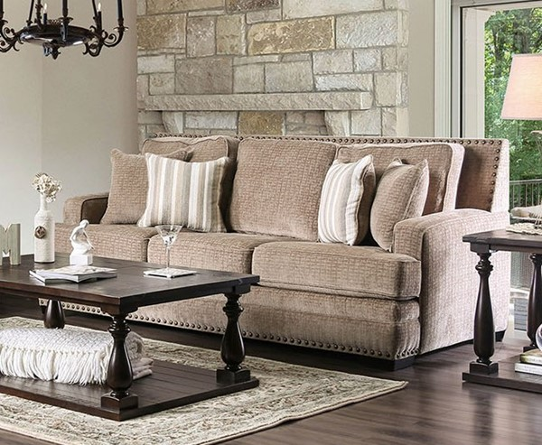 Furniture of America Osvaldo Light Brown Sofa FOA-SM5187-SF