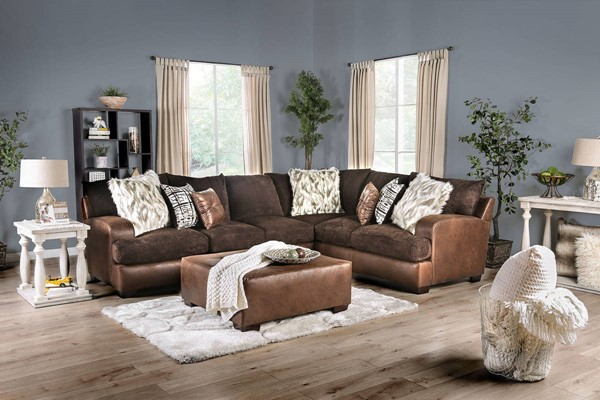 Furniture of America Gellhorn Brown Sectionals with Ottomans FOA-SM5202-OT-SECT-VAR