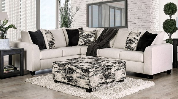 Furniture of America Barnett Ivory Sectionals with Ottomans FOA-SM5204-OT-SECT-VAR