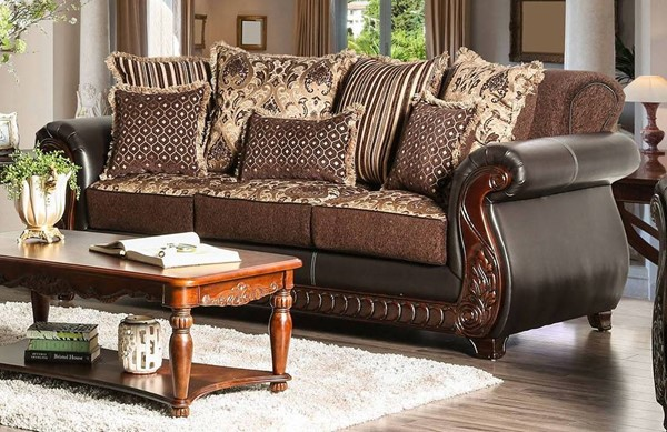 Furniture of America Franklin Dark Brown Tan Sofa FOA-SM6106N-SF