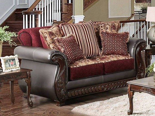 Furniture of America Franklin Burgundy Dark Cherry Loveseat FOA-SM6107N-LV