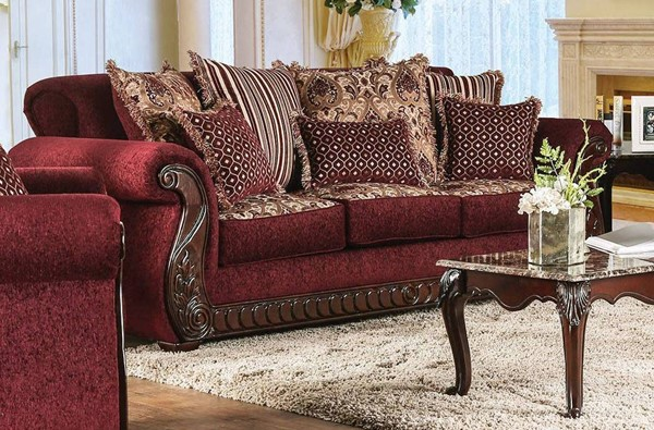 Furniture of America Tabitha Wine Sofa FOA-SM6110-SF