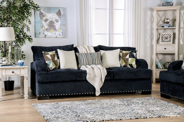 Furniture of America Jayda Navy Sofa FOA-SM6222-SF