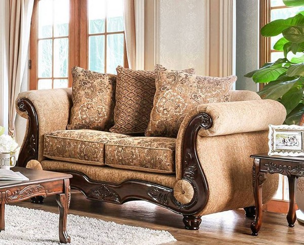 Furniture of America Nicanor Tan Gold Loveseat FOA-SM6407-LV