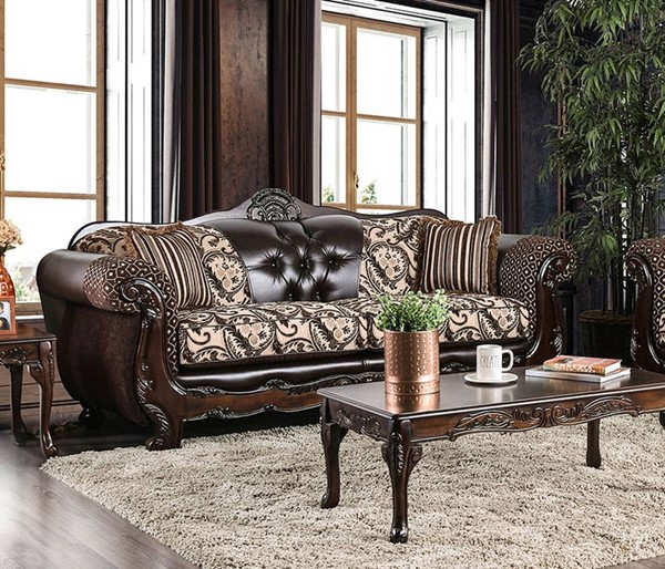 Furniture of America Quirino Dark Brown Sofa FOA-SM6416-SF