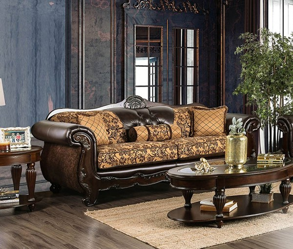 Furniture of America Quirino Tan Dark Brown Sofa FOA-SM6417-SF