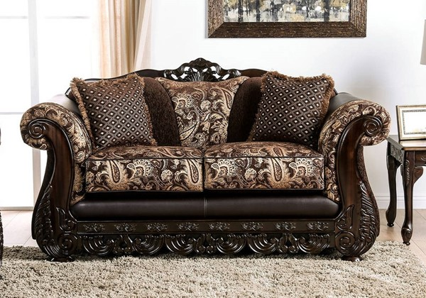 Furniture of America Newdale Brown Gold Loveseat FOA-SM6427-LV