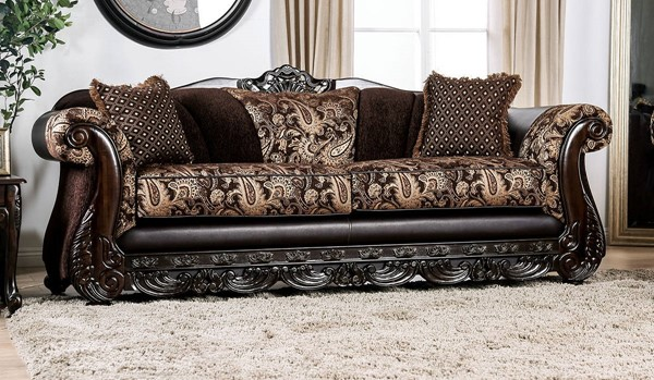 Furniture of America Newdale Brown Gold Sofa FOA-SM6427-SF