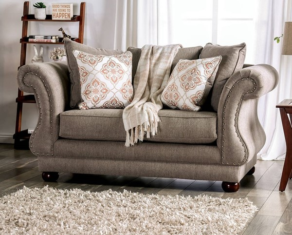 Furniture of America Nelson Gray Loveseat FOA-SM6429-LV