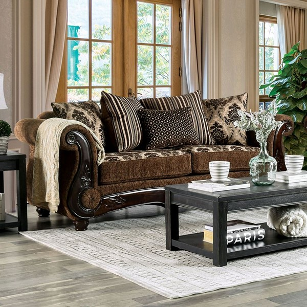 Furniture of America Tilde Brown Dark Walnut Sofa FOA-SM6430-SF