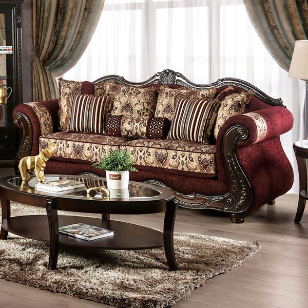 Furniture of America Matteo Burgundy Brown Sofa FOA-SM6433-SF