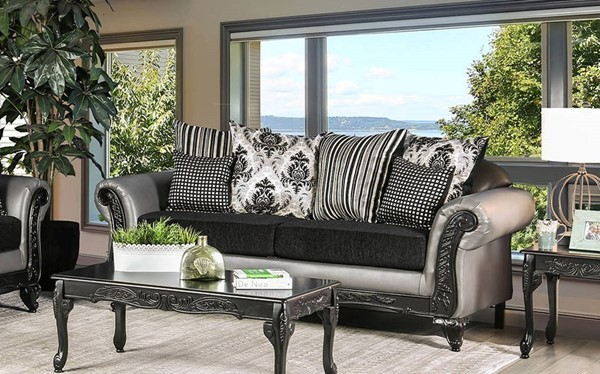 Furniture of America Midleton Gray Black Sofa FOA-SM7405-SF