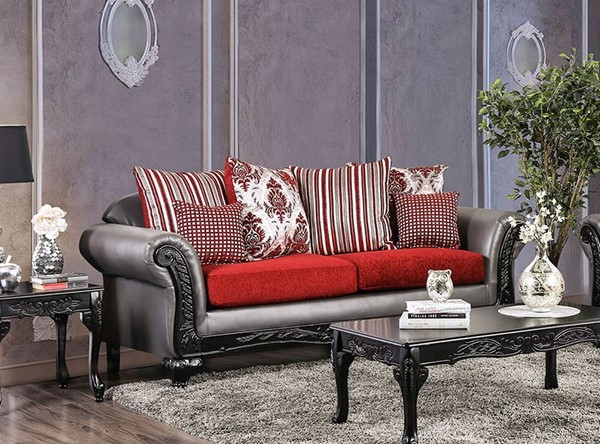 Furniture of America Midleton Gray Red Sofa FOA-SM7440-SF