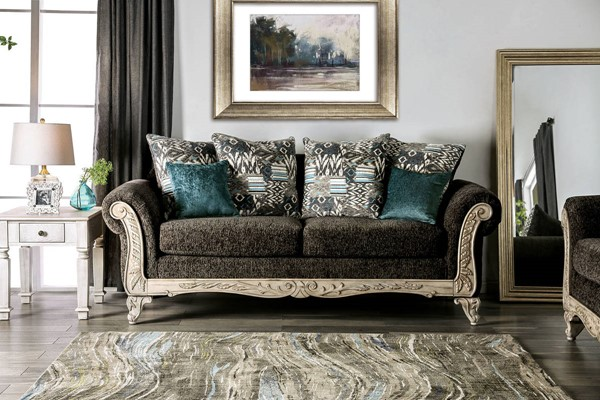 Furniture of America Cerise Gray Sofa FOA-SM7642-SF