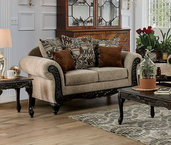 Furniture of America Saoirse Tan Love Seat FOA-SM7644-LV