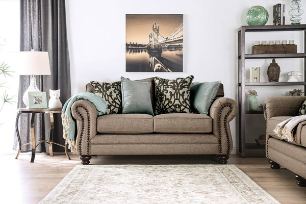 Furniture of America Jarauld Dark Taupe Love Seat FOA-SM8006-LV